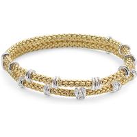 Fope Flexit Prima 18ct Yellow Gold 0.37ct Diamond Two Row Bracelet