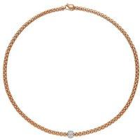 Fope Flexit Solo 18ct Rose Gold 0.29ct Diamond Necklace