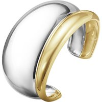 Georg Jensen Curve Sterling Silver 18ct Yellow Gold Bangle