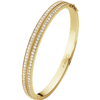 Georg Jensen Halo 18ct Yellow Gold 1.72ct Diamond Two Row Bangle