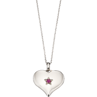 Little Star Sterling Silver and Pink Topaz Heart Necklace
