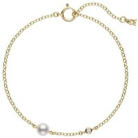 Mikimoto 18ct Yellow Gold 5mm White Akoya Pearl Diamond Bracelet