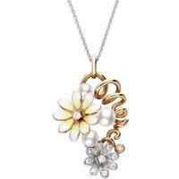 Mikimoto 18ct Rose Gold Diamond White Akoya Pearl Floral Necklace