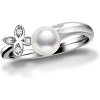 Mikimoto 18ct White Gold 6mm White Akoya Pearl Floral Ring