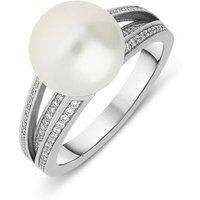 Mikimoto 18ct White Gold Diamond 11mm White South Sea Pearl Ring