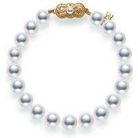 Mikimoto 18ct Yellow Gold 5.5mm White A1 Akoya Pearl Bracelet