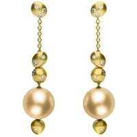 Mikimoto 18ct Yellow Gold Diamond 11mm Golden South Sea Pearl Earrings
