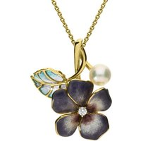 Mikimoto 18ct Yellow Gold 6mm Pearl Diamond Enamel Flower Necklace