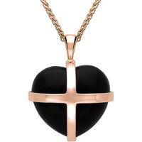 18ct Rose Gold Whitby Jet Medium Cross Heart Necklace