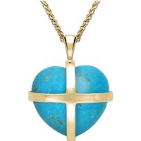 18ct Yellow Gold Turquoise Medium Cross Heart Necklace