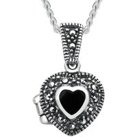 Sterling Silver Whitby Jet Marcasite Small Bead Edge Heart Locket