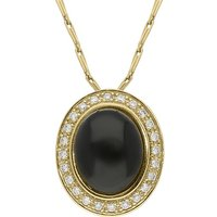 18ct Yellow Gold Whitby Jet Diamond Oval Pave Set Necklace