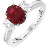 Platinum 1.75ct Ruby Diamond Oval Cut Trilogy Ring