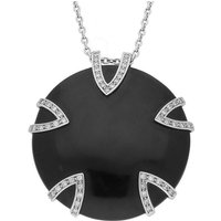 Platinum 0.59ct Diamond and Whitby Jet Five V Disc Large Necklace
