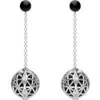 Platinum Whitby Jet Diamond Sphere Drop Earrings