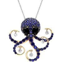 Ponte Vecchio 18ct Rose Gold Whitby Jet Diamond Sapphire Octopus Necklace