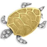 Ponte Vecchio 18ct White Gold Diamond Enamel Turtle Brooch