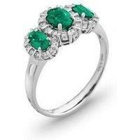 Ponte Vecchio Eternity 18ct White Gold 1.00ct Emerald Diamond Oval Cluster Ring