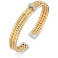 Ponte Vecchio Nobile 18ct Yellow Gold 0.12ct Diamond Three Row Bangle