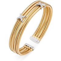 Ponte Vecchio Nobile 18ct Yellow Gold 0.14ct Diamond Crossover Bangle