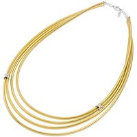 Ponte Vecchio Nobile 18ct Yellow Gold 0.14ct Diamond Layered Crossover Necklace