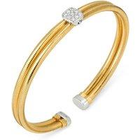 Ponte Vecchio Nobile 18ct Yellow Gold 0.17ct Diamond Two Row Bangle