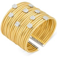 Ponte Vecchio Nobile 18ct Yellow Gold 1.42ct Diamond Cluster Cuff Bangle