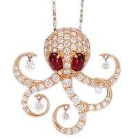 Ponte Vecchio Vega 18ct Rose Gold 1.59ct Diamond 2.00ct Garnet Octopus Necklace