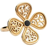 9ct Yellow Gold Whitby Jet Flore Four Petal Filigree Ring