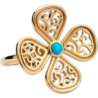 9ct Yellow Gold Turquoise Flore Four Petal Filigree Ring