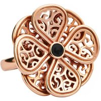 9ct Rose Gold Whitby Jet Flore Eight Petal Flower Ring