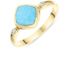 18ct Yellow Gold Turquoise 0.04ct Diamond Curved Cushion Ring