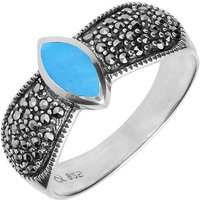 Sterling Silver Turquoise Marcasite Shoulder Ring