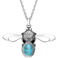 Sterling Silver Turquoise Stone Set Body Bee Necklace