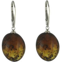Sterling Silver Baltic Amber Egg Drop Earrings