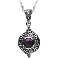 Sterling Silver Blue John Marcasite Twisted Round Pendant Necklace