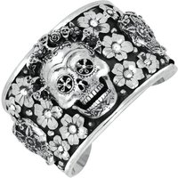 Sterling Silver Day Of The Dead Skull Flowers Wide Cuff Bangle