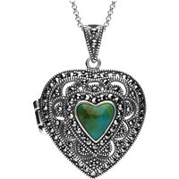 Sterling Silver Turquoise Marcasite Heart Shaped Vintage Style Locket Necklace