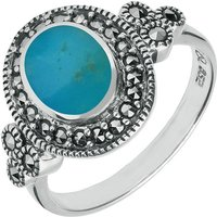 Sterling Silver Turquoise Marcasite Oval Beaded Edge Ring