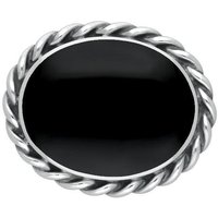 Sterling Silver Whitby Jet Heritage Large Rope Twist Edge Brooch