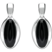 Sterling Silver Whitby Jet Heritage Long Oval Drop Earrings