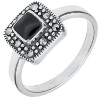Sterling Silver Whitby Jet Marcasite Cushion Shape Beaded Edge Ring