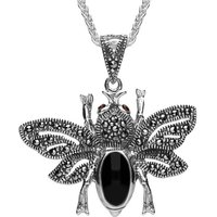 Sterling Silver Whitby Jet Marcasite Garnet Bee Pendant Necklace