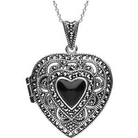 Sterling Silver Whitby Jet Marcasite Large Heart Locket Necklace