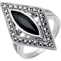 Sterling Silver Whitby Jet Marcasite Triangle Ring