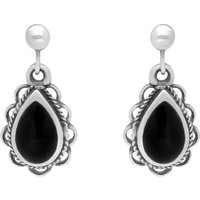 Sterling Silver Whitby Jet Heritage Pear Rope Frill Drop Earrings