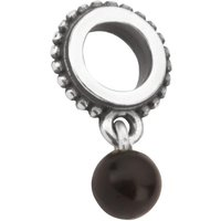 Sterling Silver Whitby Jet Single Beaded Dropper Charm