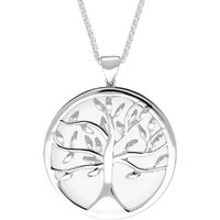 Sterling Silver Bauxite Large Round Tree of Life Necklace