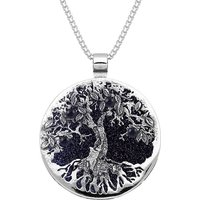 Sterling Silver Blue Goldstone Large Round Tree Of Life Necklace