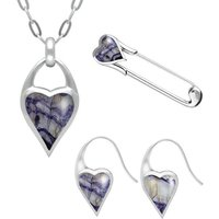 Sterling Silver Blue John Heart Carrier Three Piece Set